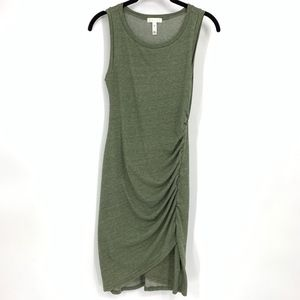 Leith army green ruched bodycon tank dress